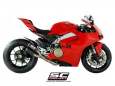 Uitlaat SC-Project Volledig systeem 2-1-2 Twin CR-T overlapping Carbon geen e-keur - DUCATI PANIGALE V4
